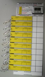 Breathing Apparatus Staging Tally Board - Stage 1 10 User with S-Biner Stainless Clips